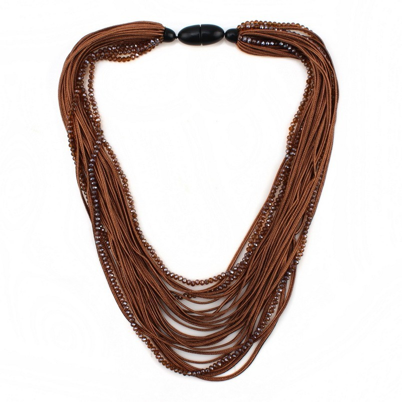 Bib Multi Layers Rope Chain Chunky Crystal Bead Statement Long Necklace for Women Florate Brand Handmade Party Pendant Necklace