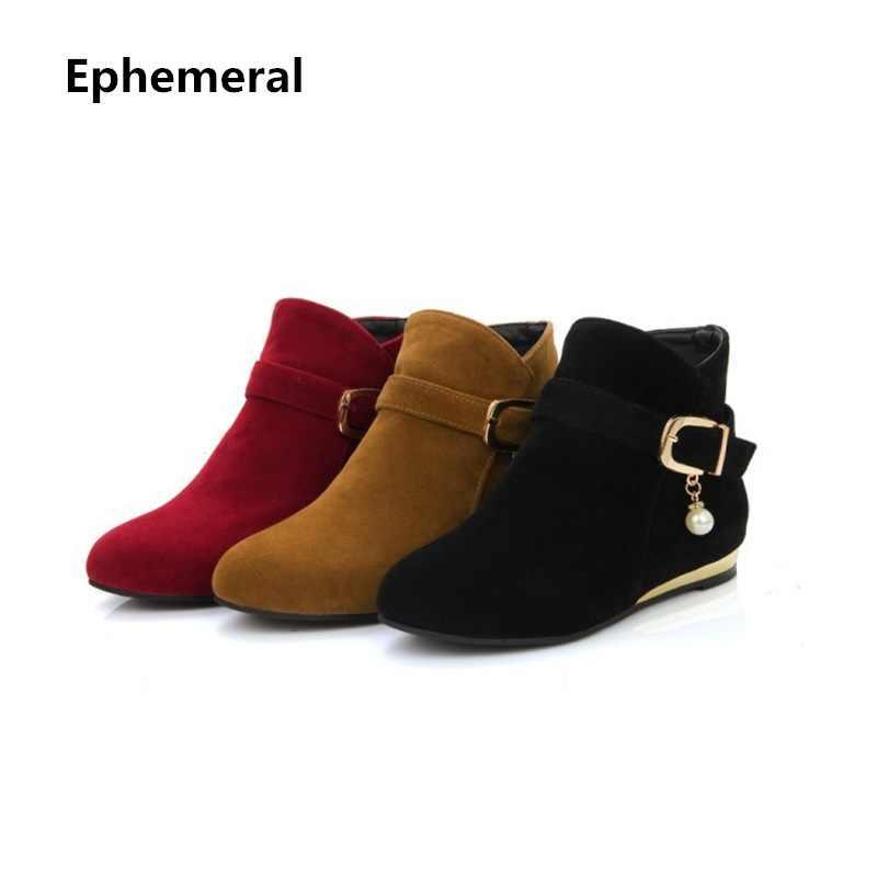 a5c3f4d97 Женские замшевые ботинки с пряжкой на молнии с украшением в виде кристаллов  большого размера зимние теплые