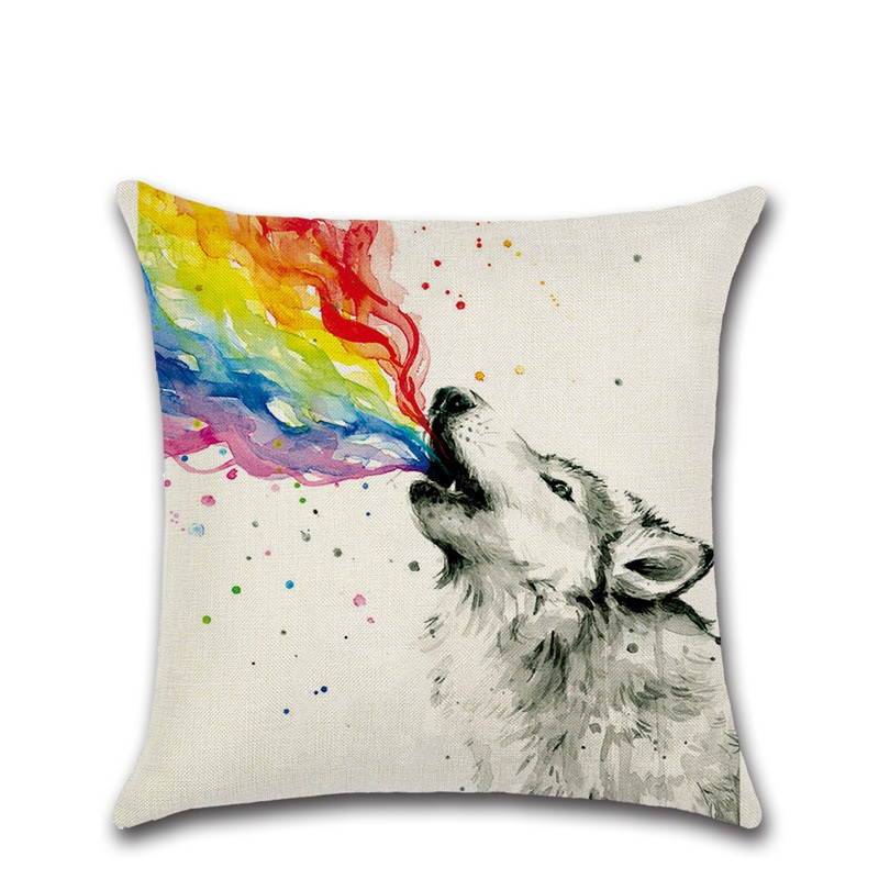 Rainbow animal Cushion Cover Cotton material Pillow Cases  45X45cm Bedroom Sofa Pillowcase Home Decor Christmas gift