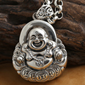 Handmade 925 silver Laughing Buddha amulet vintage sterling silver happy buddha pendant tibetan jewelry necklace pendant gift