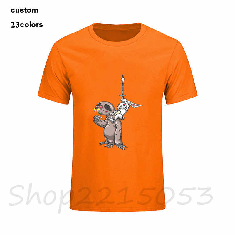 2019 ストリートナマケモノとバニー剣ファンタジーイラスト愛ウサギ乗馬をナマケモノ男性おかしい tシャツゲームアニメプリントの tシャツシャツ