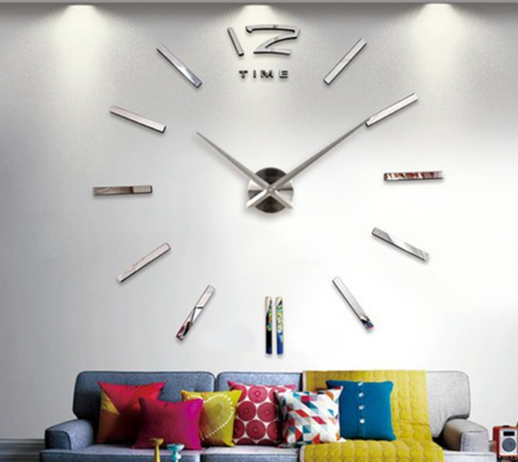 3D real big wall clock rushed mirror sticker diy living room decor drop shipping fashion watches new arrival Quartz clocks C457