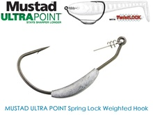 Spring Lock Weighted Mustad Utral Point Hook, 2g–1/0, 2.5g–/2/0, 3g–3/0 (weight / hook size)