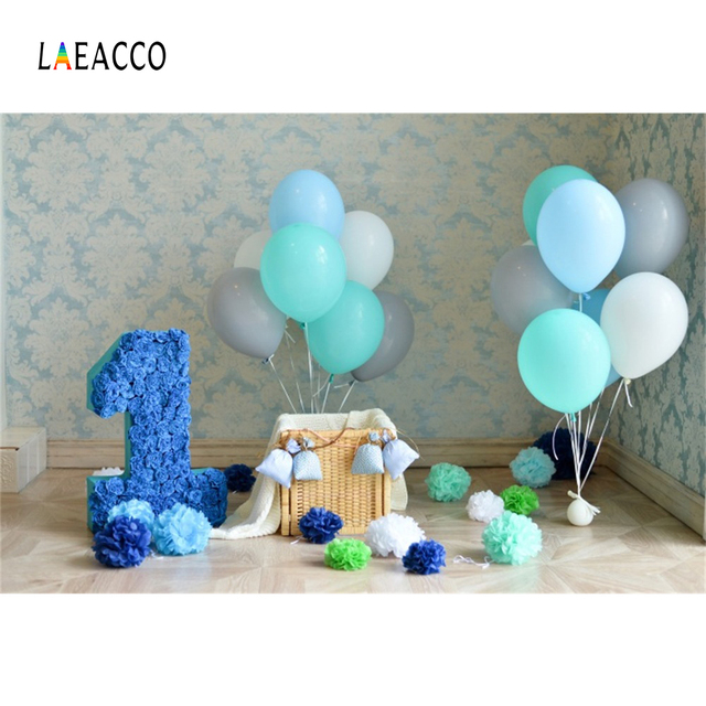 Laeacco Damask Wall Balloons 1st Birthday Party Baby Photography Backgrounds Customized Photographic Backdrops For Photo Studio