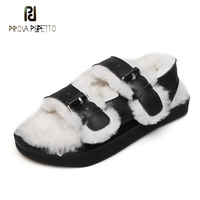 Prova Perfetto newest wool fur gladiator sandals women open toe thick bottom genuine leather casual shoes females winter autumn