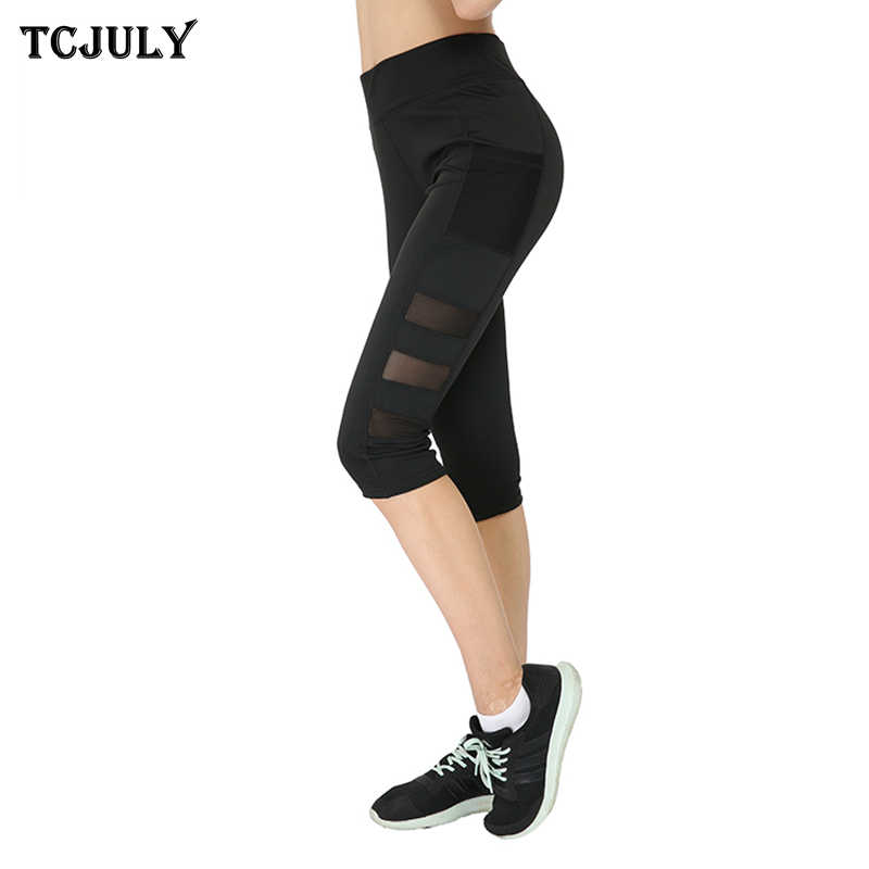 7c98a237361 Detail Feedback Questions about TCJULY New Mesh Capris Leggings With Pocket  High Waist Slim Push Up Workout Pants Stretch Breathable Black Fitness  Leggins ...