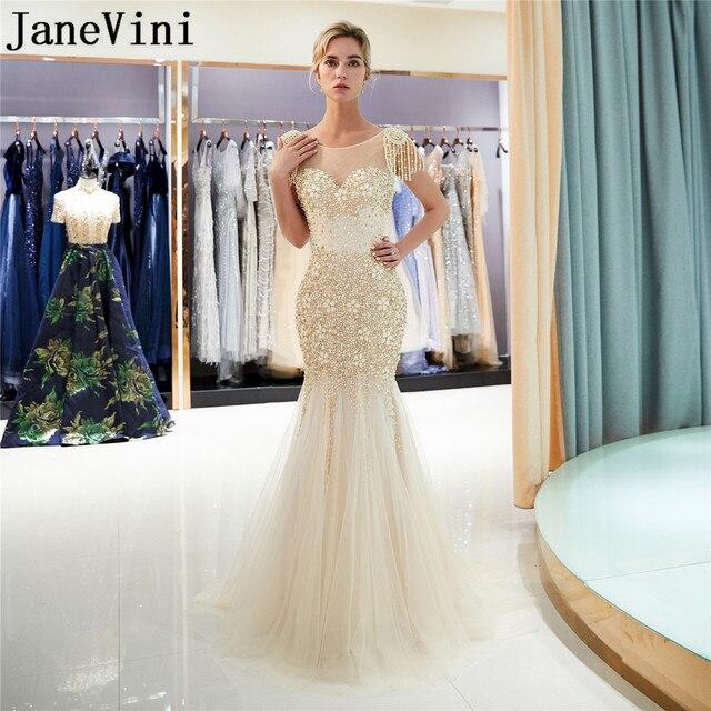 JaneVini Luxe Gold Lange Prom Dresses 2019 Kralen Crystal Mermaid Gala Avondjurk jurk lang Steentjes Parel Partij Jassen
