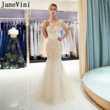 JaneVini Luxury Gold Long Prom Dresses 2019 Beaded Crystal Mermaid Gala Evening Dress jurk lang Rhinestones Pearl Party Gowns
