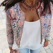 Women Fashion New  Long Sleeve Basic Coats Floral Print Zipper Bomber Jacket  Autumn New Short Women Jackets