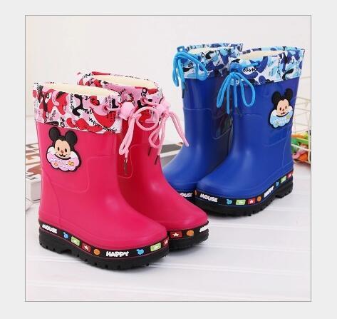 Çocuk yağmur çizmeleri sevimli karikatür Erkek ve Kız kayma Bebek ayakkabı galoş su ayakkabısı Çocuklar için kauçuk ayakkabı