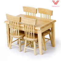 oMoToys Dollhouse Miniature Wooden Furniture Dining Table Chair Set 1:12 , 1 table with 4 chairs Paintable