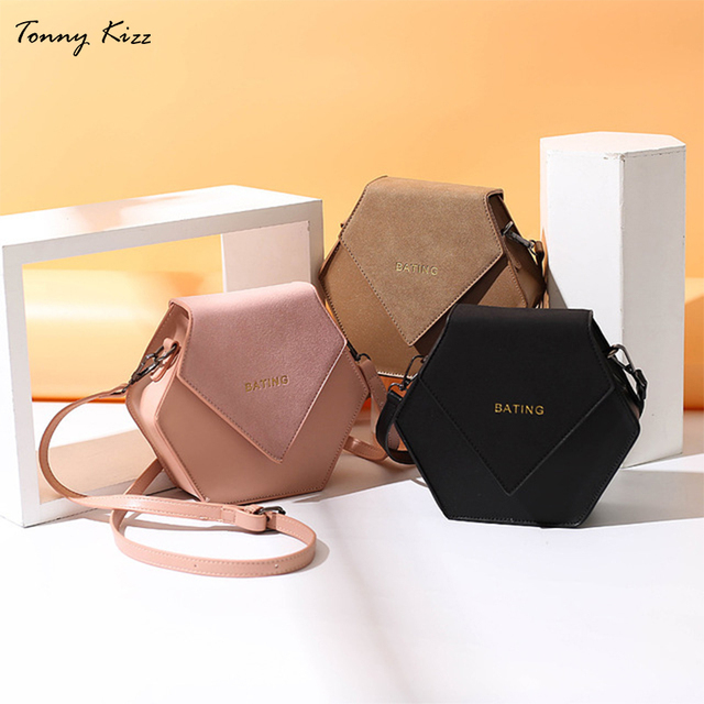 Tonny Kizz geometric crossbody bags for women shoulder bags leather messenger bags high quality solid color handbags desigual