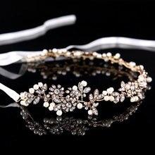 Fairy Luxury Tiara Silver Pearl Headbands Crystal Hair Jewelry Headpiece Wedding Accessories  Head Chain