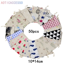 50pcs multicolor Vintage Cotton Linen Bag Wedding Party Favors Jewelry Packaging Burlap Jute Gift Candy Bags supply For coin