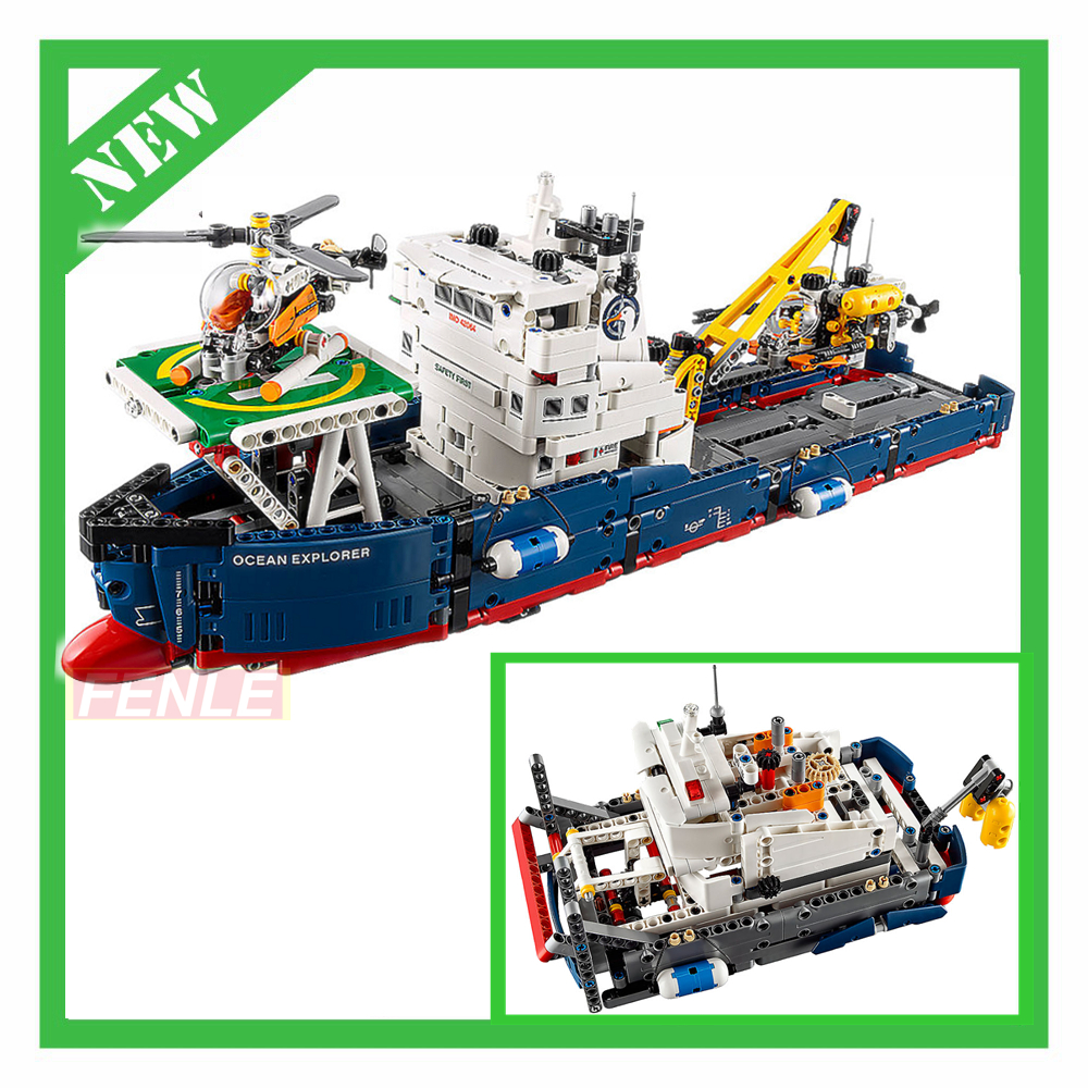 Decool 3370 Compatible legoeing Technic 1342pcs Ocean Explorer Model Building BlocksThe Searching Ship Set Bricks Toys 42064 nature explorer box set