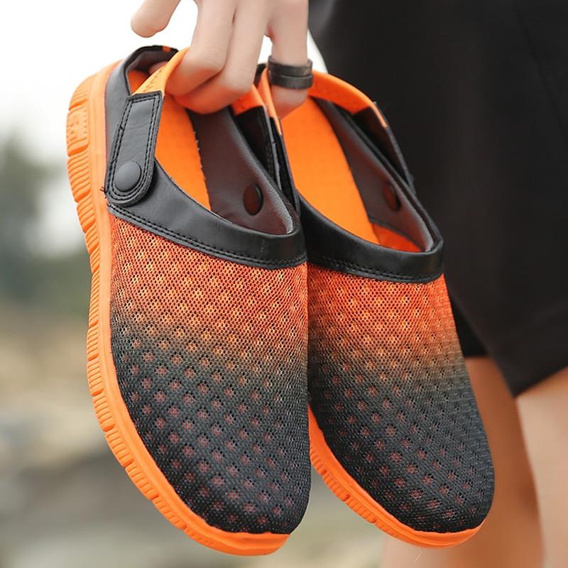 100% QualitäT Strand Sandalen Männer Sommer Plaid Schuhe Große Größe 42-46 Mischfarben Casual Schuhe Für Männer Hohl Atmungsaktive Mesh Sandalen Slipper Heller Glanz