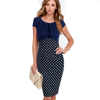 Summer Of 2016 European Women S Elegant High Quality Pleated Polka Dot Package Hip Pencil Dress