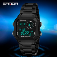 SANDA408 Gold Men's Watches Top Brand Luxury LED Digital Watch Men Fashion Waterproof Rose Golden Clock Relogio Masculino 2018