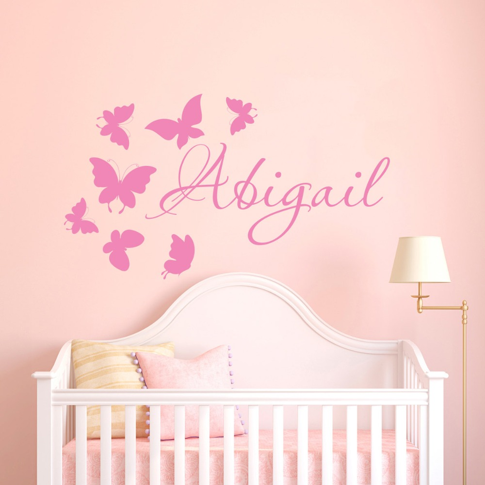 Butterfly Vinyl Wall Decals Custom Name Decor Girls Nursery Personalized Kids Bedroom Removable DIY Cute Muraux SYY313