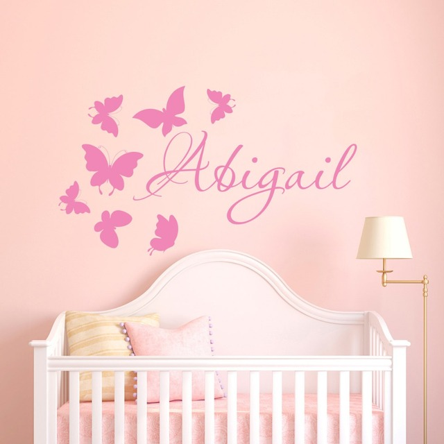 Butterfly Vinyl Wall Decals Custom Name Wall Decor Girls Nursery ...