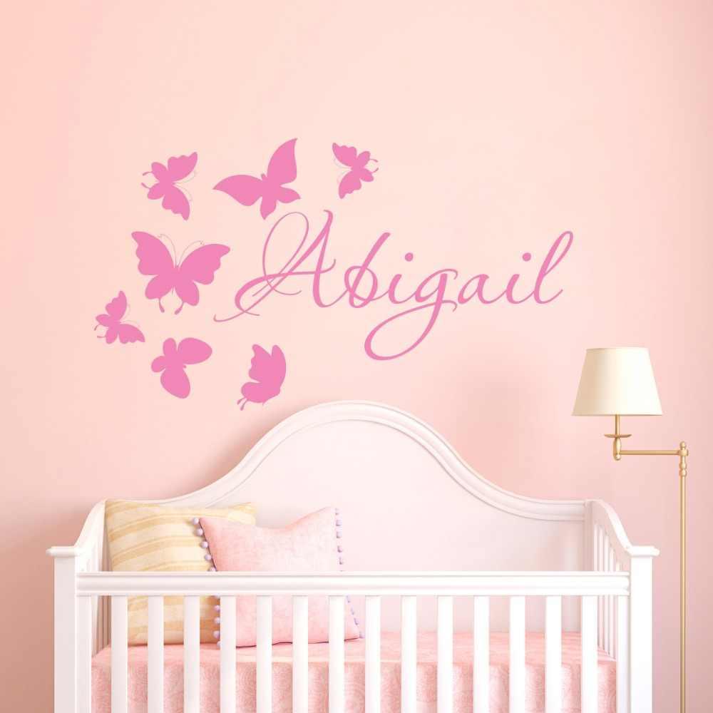 Vine Butterflies Personalised Name Wall Sticker Decal Kids Nursery Decor Art DIY