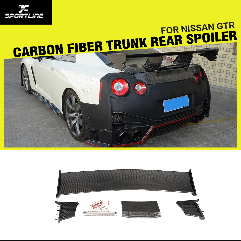 Car-styling Carbon Fiber <font><b>Rear</b></font> Tail Trunk <font><b>Spoiler</b></font> Boot Lip Wing for Nissan <font><b>GTR</b></font> GT-R <font><b>R35</b></font> 2009 - 2015 image