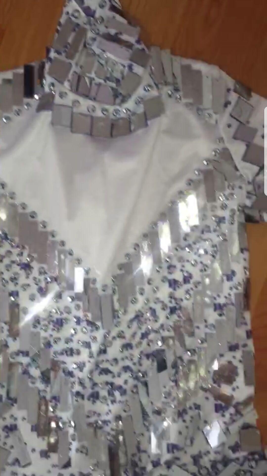 Sparkly Mirror Rhinestone Bodysuit Latin Dance Dress Costume Women Outfit