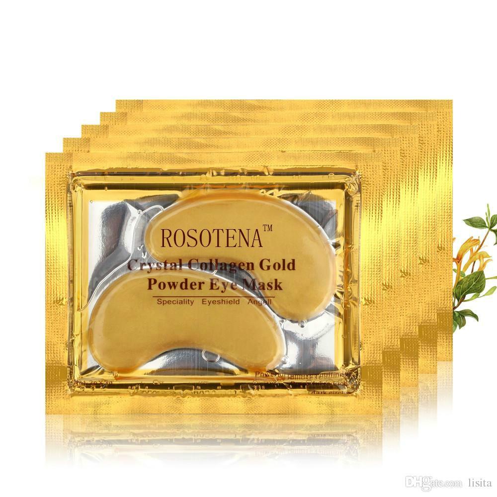 ROSOTENA 20PCS/lot Anti-Wrinkle Crystal Collagen Eye Mask Eliminates Dark Circles And Fine Lines Gold Eye Patches Eye Care