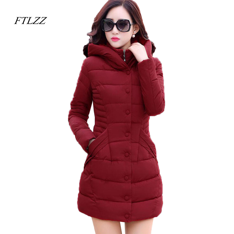FTLZZ 2018 Winter New Medium Length Thickening   Parkas   Coat Woman Fashion Hooded Solid Color Cotton Wadded Overcoat Slim   Parkas