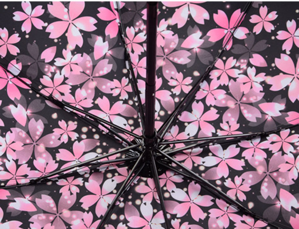 Adults Folding Umbrella For Women One Size Umbrellas Women Folding Umbrella Anti-Uv Automatic Umbrella Rain Women Flowers        (10)