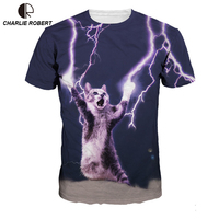 2017 New Fashion Men Women 3D T Shirt Funny Print Glasses Cat Space Galaxy T Shirt