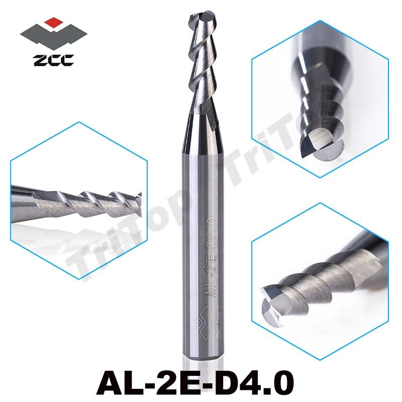 5pcslot AL-2E-D4.0 ZCC.CT tungsten Carbide 2 flute 4mm End mill high performance aluminium machining milling cutter