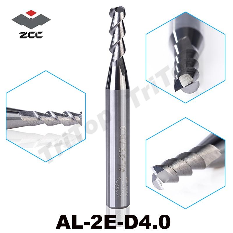 5 sztuk / partia AL-2E-D4.0 ZCC.CT węglik wolframu 2 flet 4mm Frez wysokiej jakości aluminium frez do obróbki