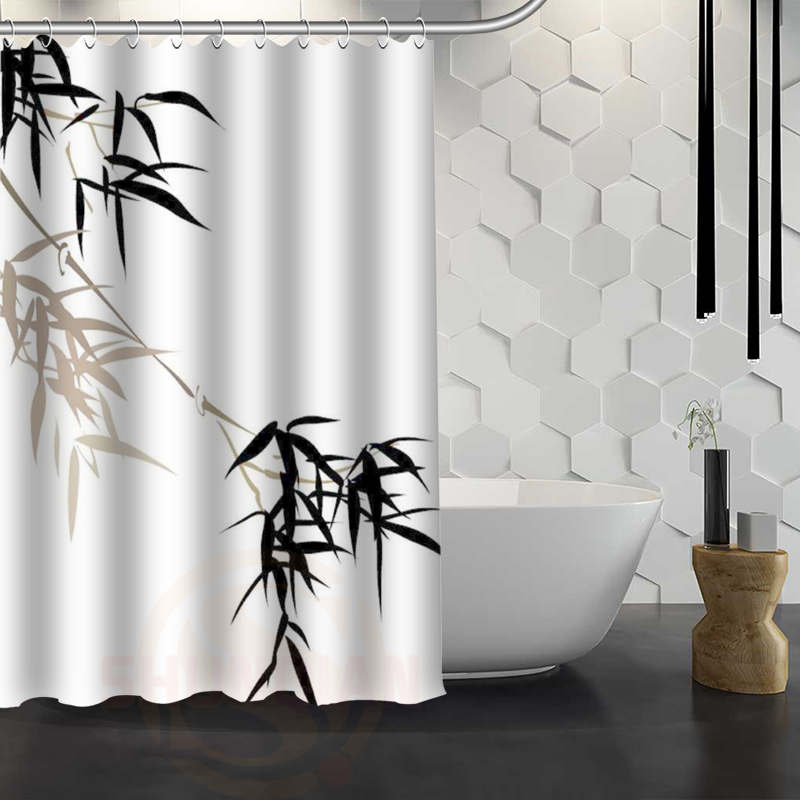 Hot Sale Custom Bamboo Shower Curtain Waterproof Fabric Bath Curtain for Bathroom F#Y1-17