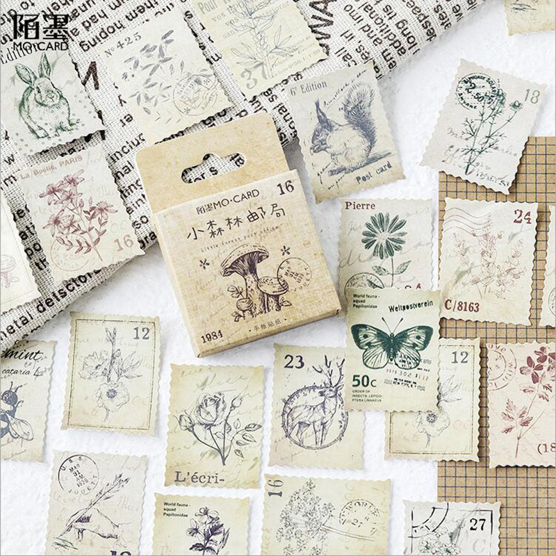 46PCS / Box New Small Forest Post Office Diary Paper Label Seal Sticker Crafts Cut Decorative Album Thin DIY Learning Stationery