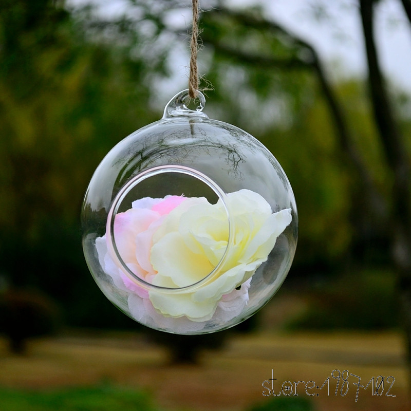 4 шт. мода прозрачный Стекло круглый Террариум цветок РП висит ваза гидропоники Офис Свадьба Декор сада