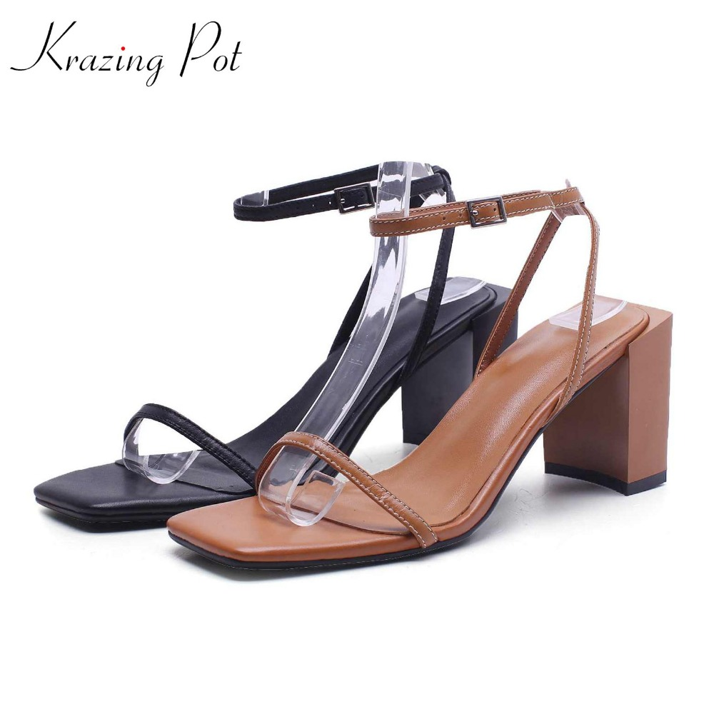 krazing pot full grain leather peep toe fashion women sandals square black brown color high heels model catwalk show shoes La8 krazing pot shoes women full grain leather mules hollywood peep toe metal chain decorations sandals summer outside slippers l88