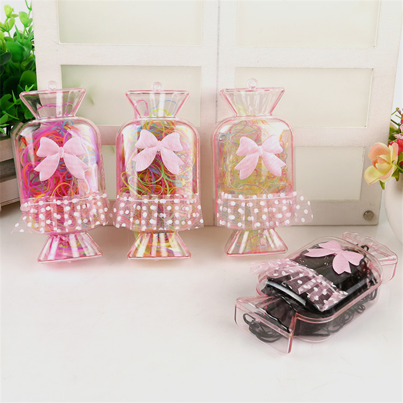 Lace Bow Girl Elastic Hair Bands 150Pcs Ring Candy Gift Children Rubber Rope Ponytail Holder Box Set Jewelry Hair Accessories