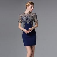 European Vintage Fashon Summer Women Dress New Round Collar Short Sleeve Dress Embroidery Vestidos Bodycon Slim Ancient Ways