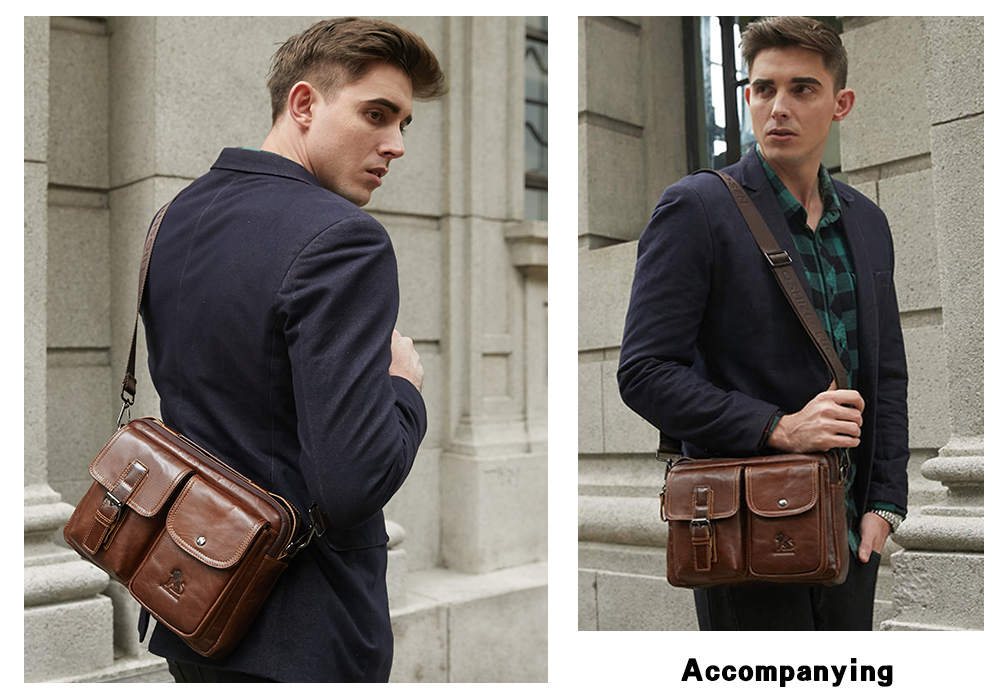 Image 5 - LAOSHIZI Genuine Leather Briefcase Men  Shoulder Bag Soft Cowhide Messenger Bag Vintage Male Handbags Business Tote-in Laptop Bags & Cases from Computer & Office