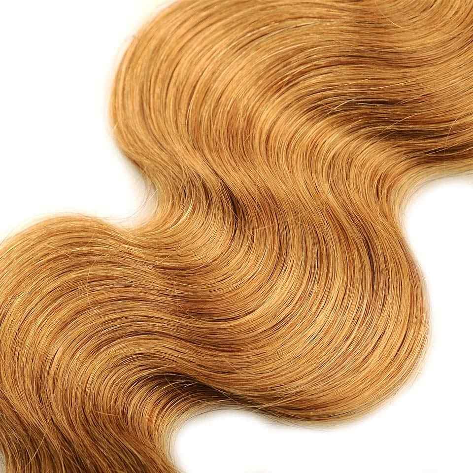 Pinshair 4 unids/pack pelo de la onda del cuerpo miel pelo rubio brasileño armadura paquete ofertas #27 100% extensiones de cabello humano no cabello Remy