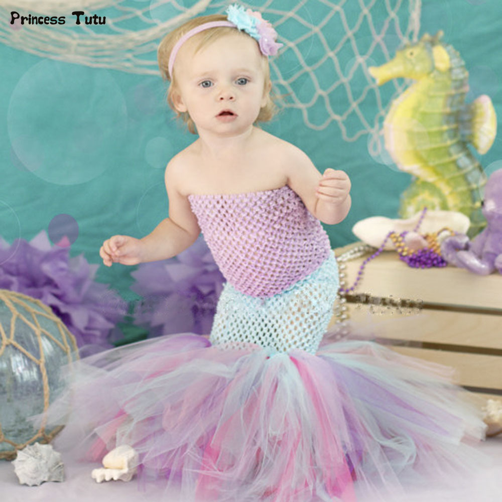 Infant Toddler Baby Girl Mermaid Fishtail Tutu Dress Cute Princess Cosplay Costume Kids Party Birthday Photography Tulle Dresses crown princess 1 year girl birthday dress headband infant lace tutu set toddler party outfits vestido cotton baby girl clothes
