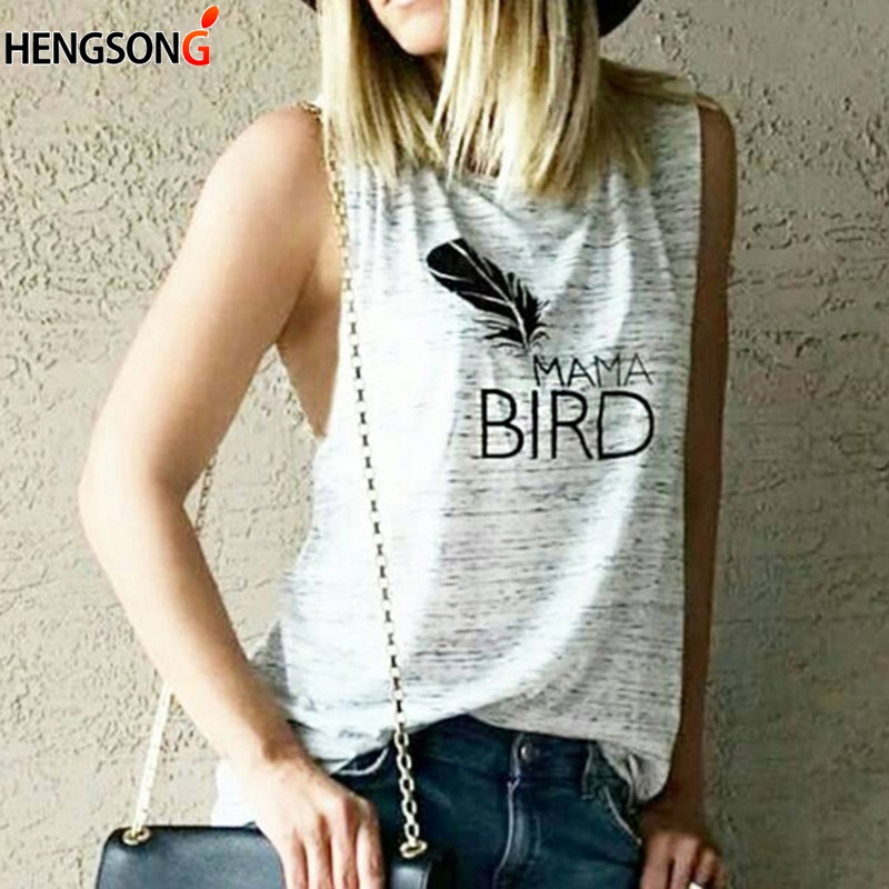 Women Fashion Sleeveless T-shirt O-Neck Letter Printed T-Shirt Femmale Slim Tshirt Women Solid Tops 2018 Summer Hot Sale