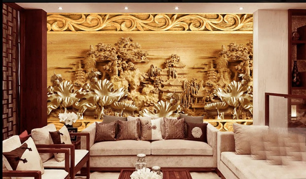 Chinese muurschilderingen behang 3d mural ontwerpen klassieke lotus