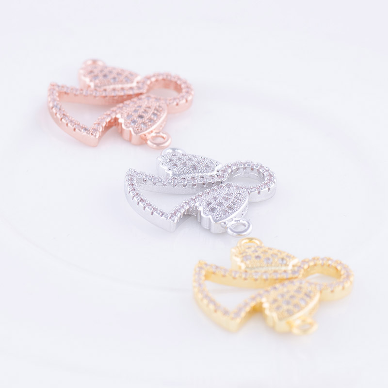 Jewelry Making Supplie Fashion Copper Zircon Angle Clasp Diy Micro Pave Jewelry Connector For Bracelet Necklace Bijoux Component
