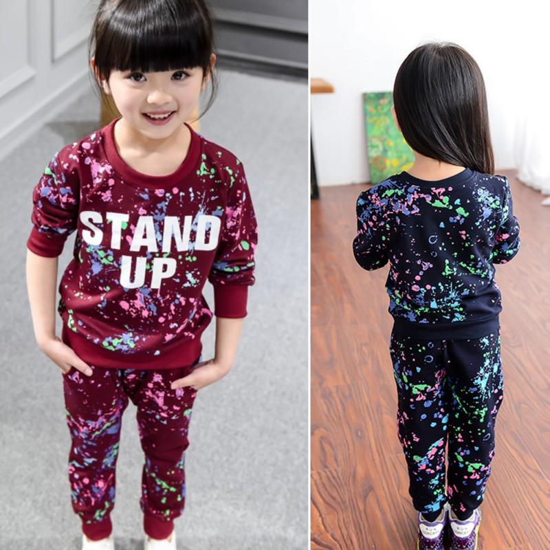 For Autumn/Winter Baby Girls Lovely Clothes Set Cotton Children Boys Girls Colorful Graffiti Letter Clothing Sets Sweatshirt TQ