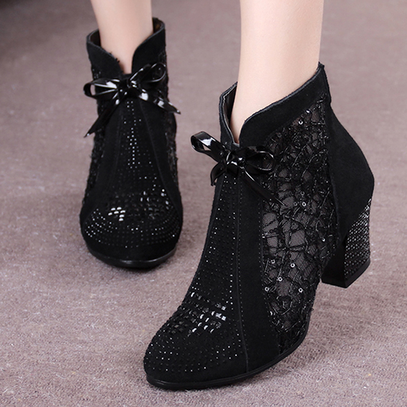 Mid Heel Nubuck Leather Lace Mesh Bowknot Summer Women Fashion Sandals Ankle Boots Genuine Leather Shoes