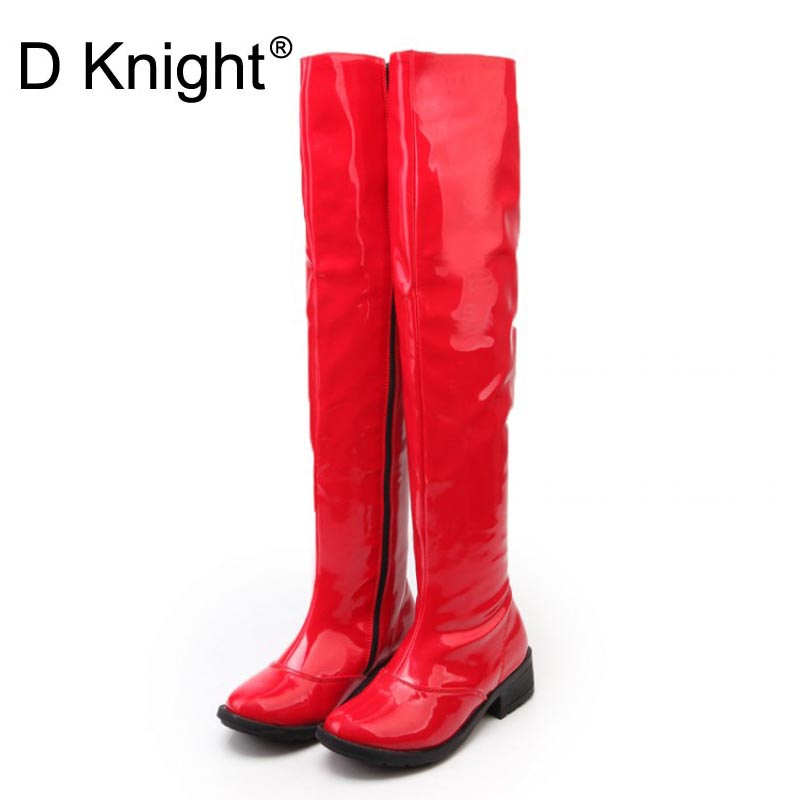 Sexy Patent Leather Over The Knee Boots For Women New Round Toe Side Zip Women Flat Riding Boots Ladies Steel Pole Dance Boots евгения гапчинская самые самые 6 магнитных закладок