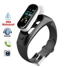 все цены на GIMTO Smart Watch Men Bluetooth Wireless Earphone Women Watches Blood Pressure Heart Rate Smart Bracelet Headphone For Apple онлайн