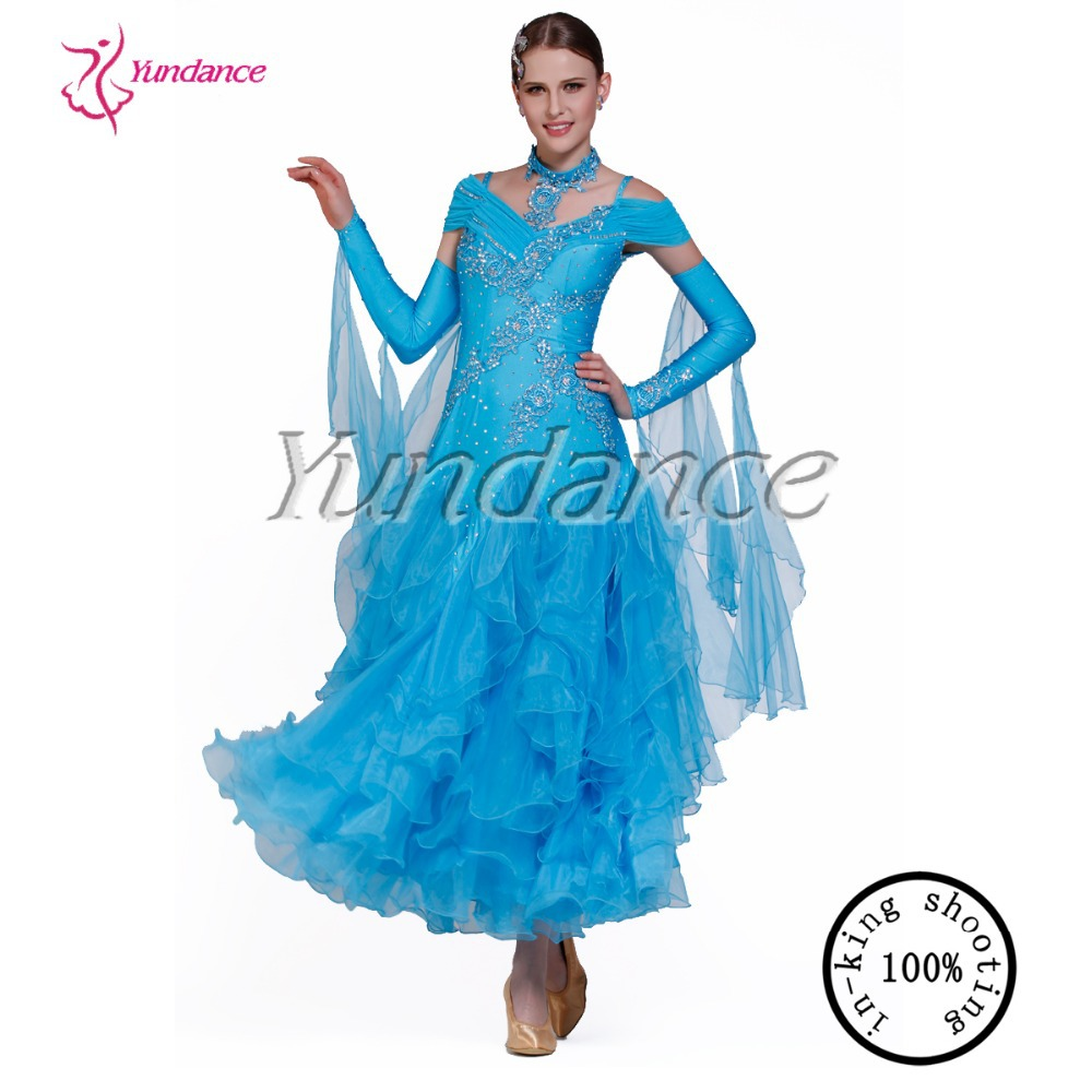 2016 Latest Design Competition Dresses New Stage New Customized Ballroom Dress Woman  B-09243